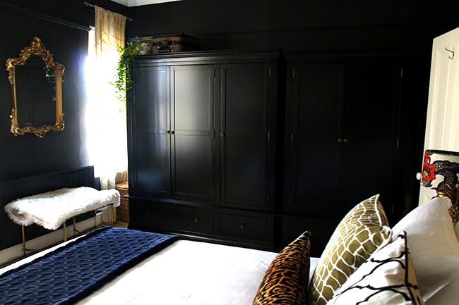 black freestanding wardrobe from Very in black bedroom - see more at www.swoonworthy.co.uk