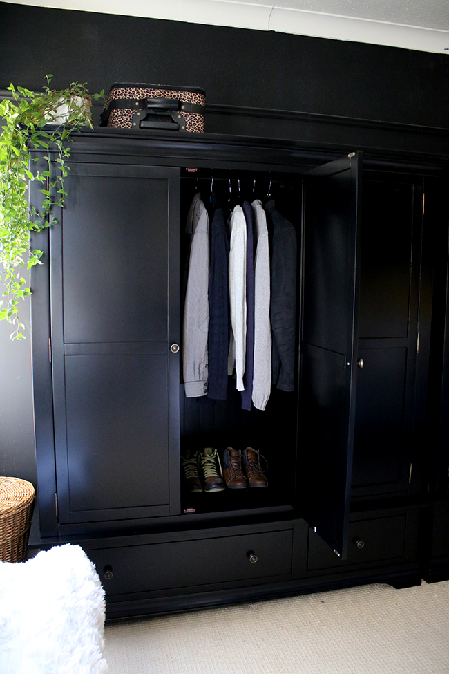 black freestanding wardrobe from Very with door open in black bedroom - see more at www.swoonworthy.co.uk