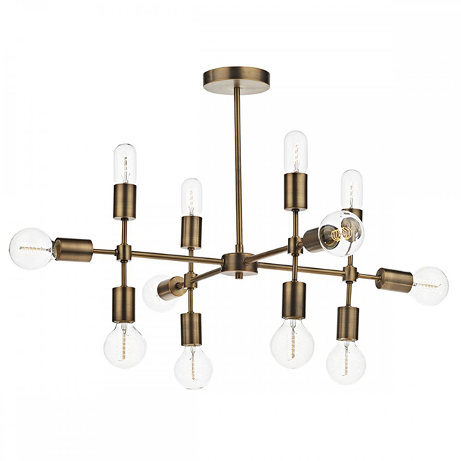 brass light fitting with 12 lights