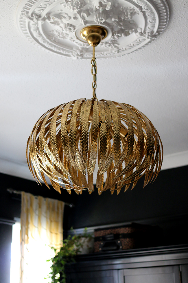 My New Gold Glam Light Fixture in the Bedroom