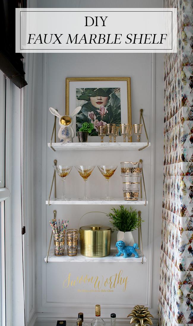 DIY Faux Marble Shelf