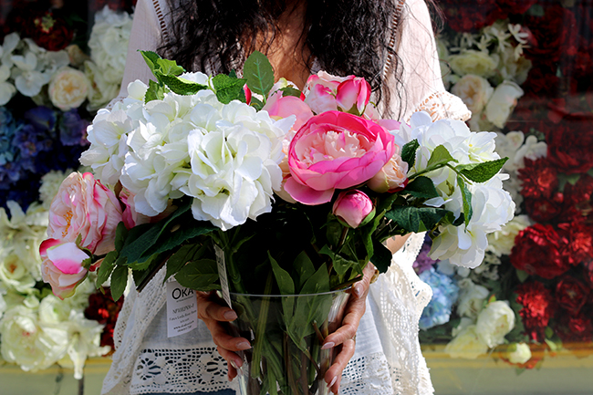 Faux flower arranging with OKA