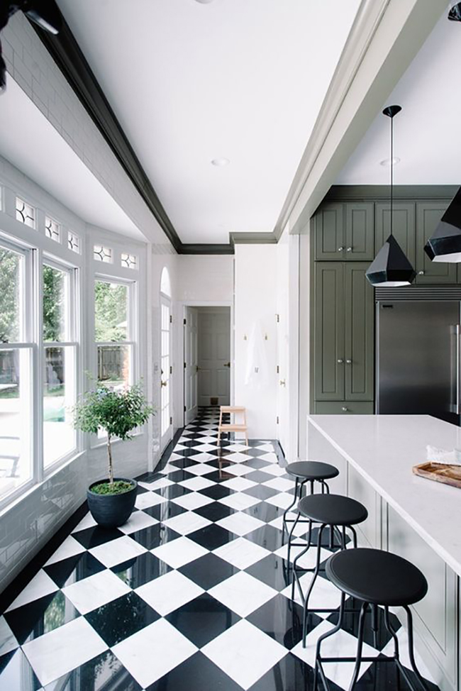 Black and white tiles from The Makerista's green kitchen