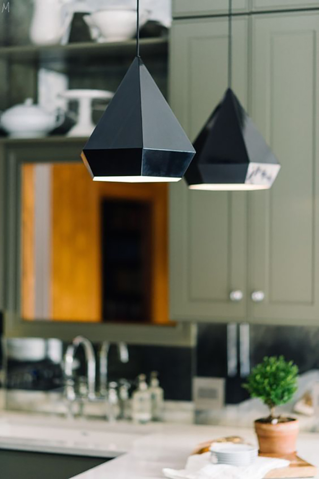 Gorgeous lighting from The Makerista's green kitchen