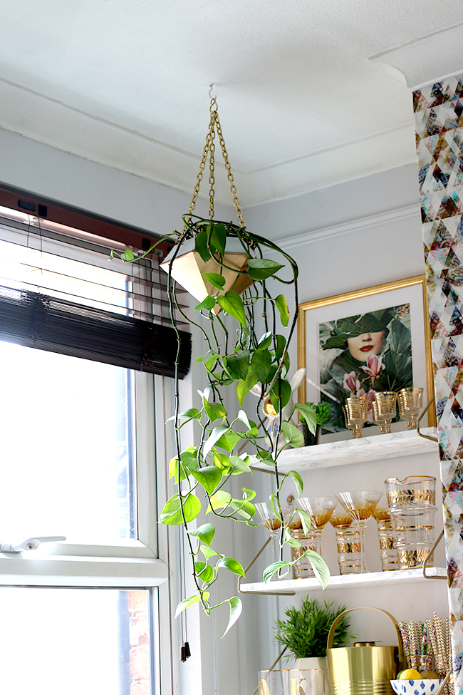 DIY Hanging Planter in gold and white