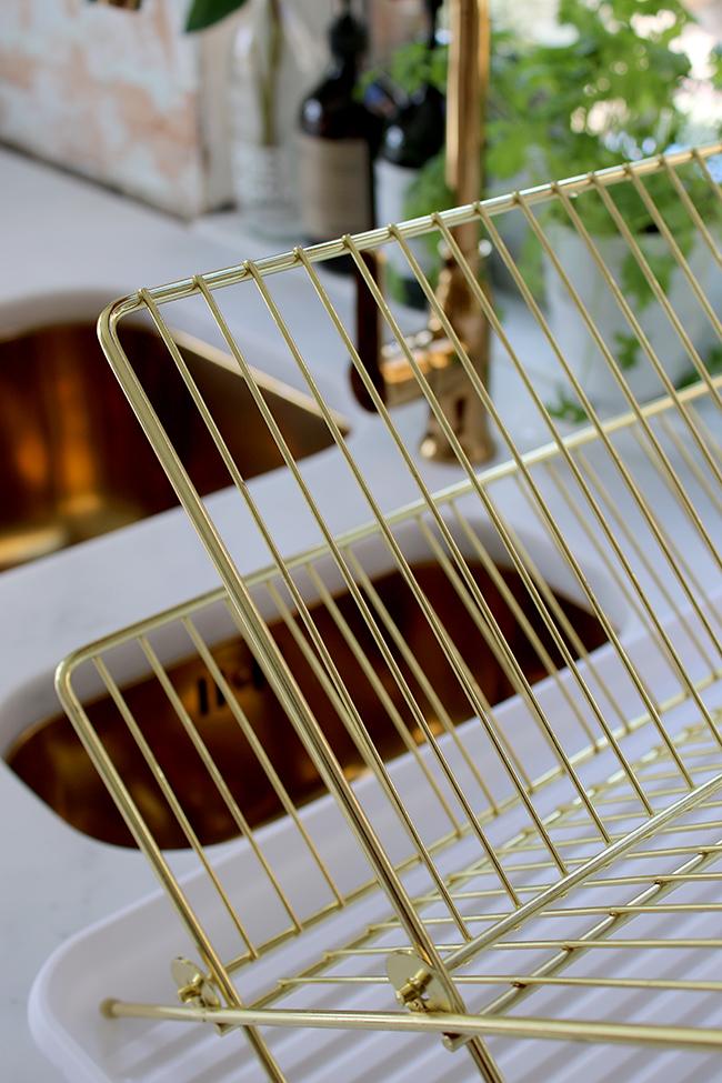 gold dish drainer