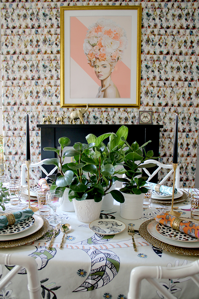 Colourful table setting with plants and animal prints & Eclectic Boho Glam Table Setting with Halsted Design - Swoon Worthy