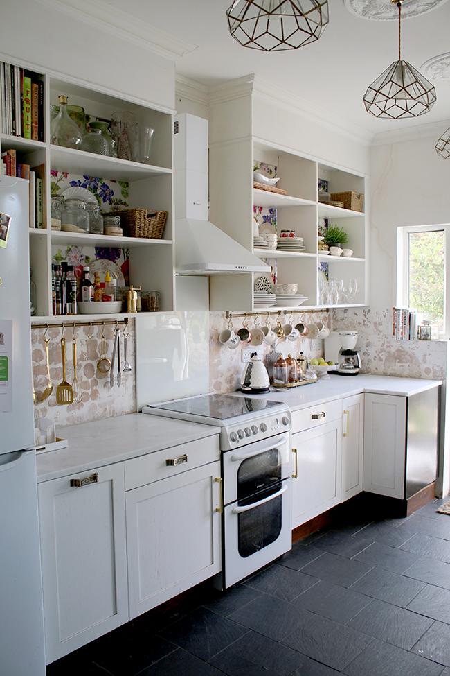 kitchen remodel progress shot - white cararrara marble acrylic worktops