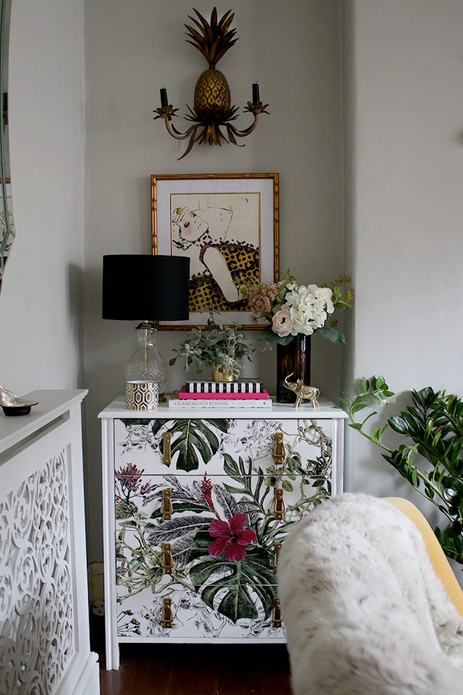 wallpaper chest of drawers with tropical print / dresser vignette / styling