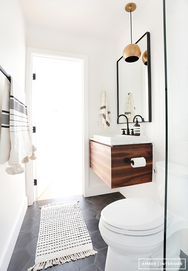 Black Bathroom Taps : black-white-and-wood-bathroom-with-black-taps