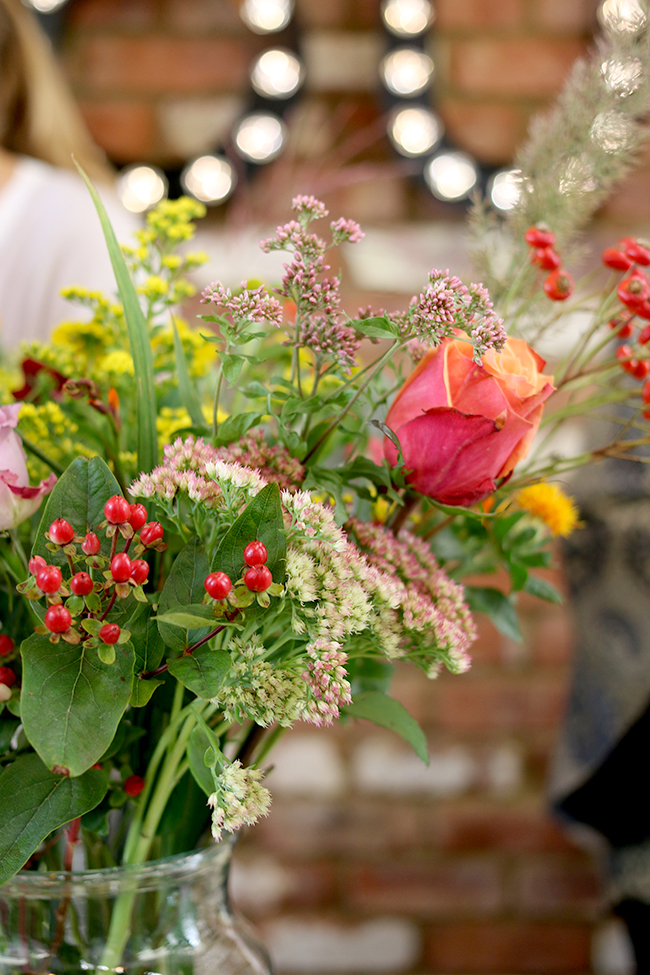 closeup of flower arrangement at Houzz