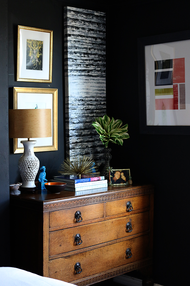 vintage chest of drawers in black bedroom