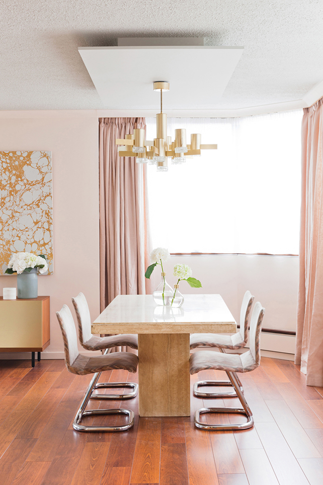 Dining room blush pink interior inspiration