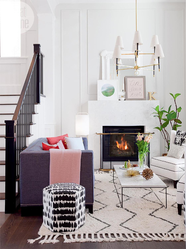 blush pink interior inspiration - living room with fireplace