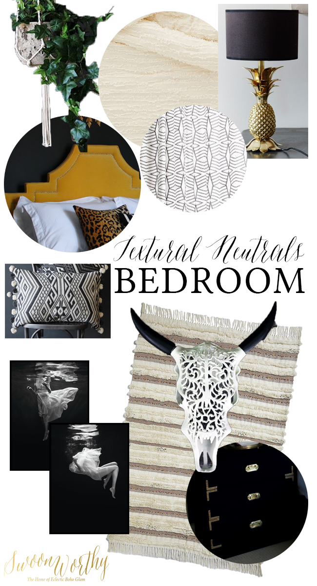 boho glam neutral bedroom moodboard with textural accents