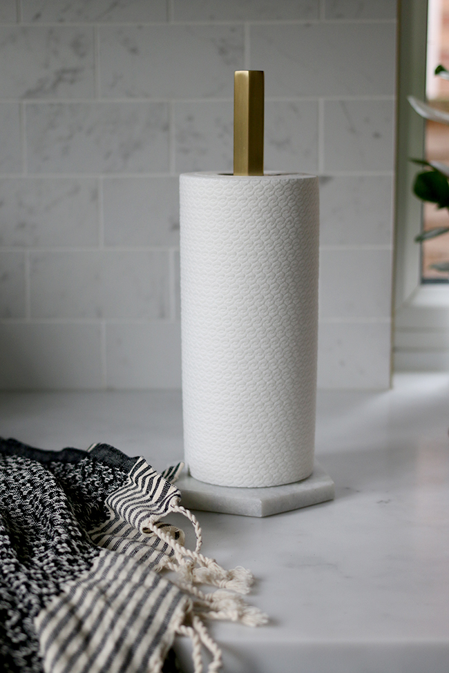 ferm-living-hex-marble-and-brass-kitchen-roll-holder