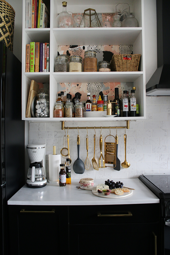 Got a small kitchen? Installing vertical shelves is a great way to maximise storage and create visual space!