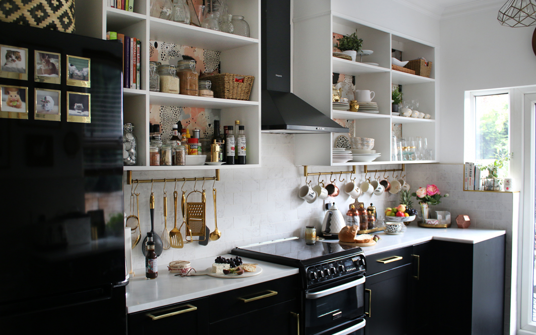 The REVEAL of our Black White and Gold Kitchen