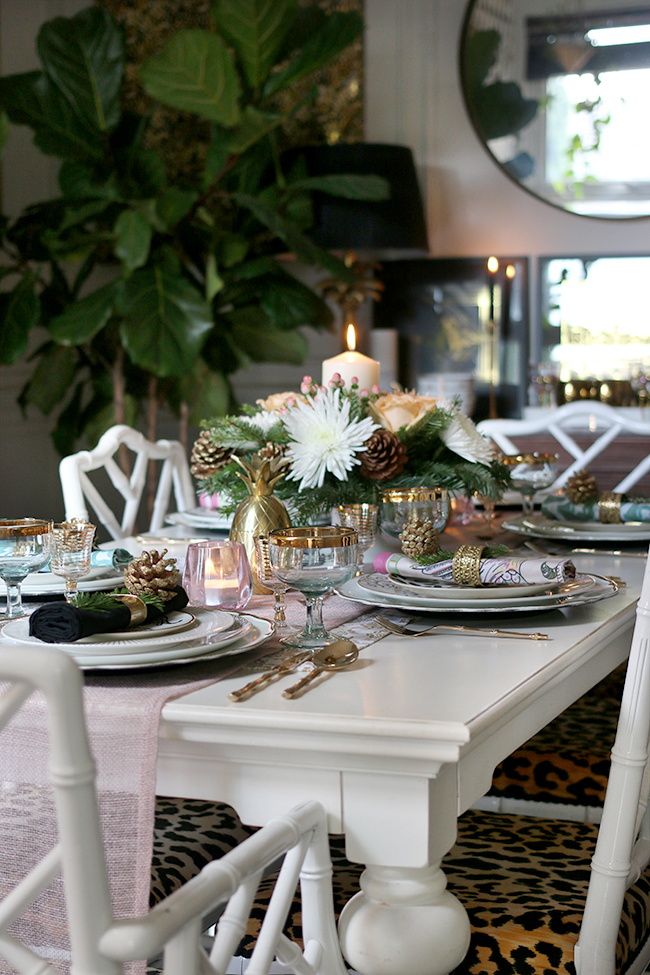 How to create a glam Christmas table setting on a budget with blush pink and gold