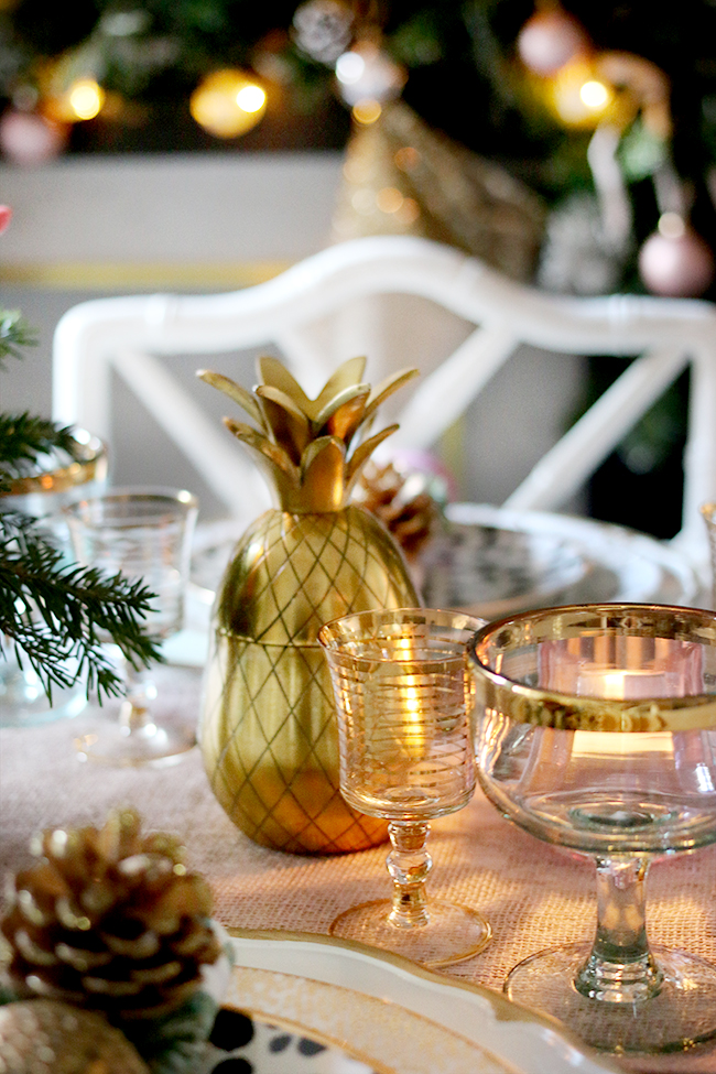 How to create a glam Christmas table setting on a budget with blush pink and gold and gold pineapples