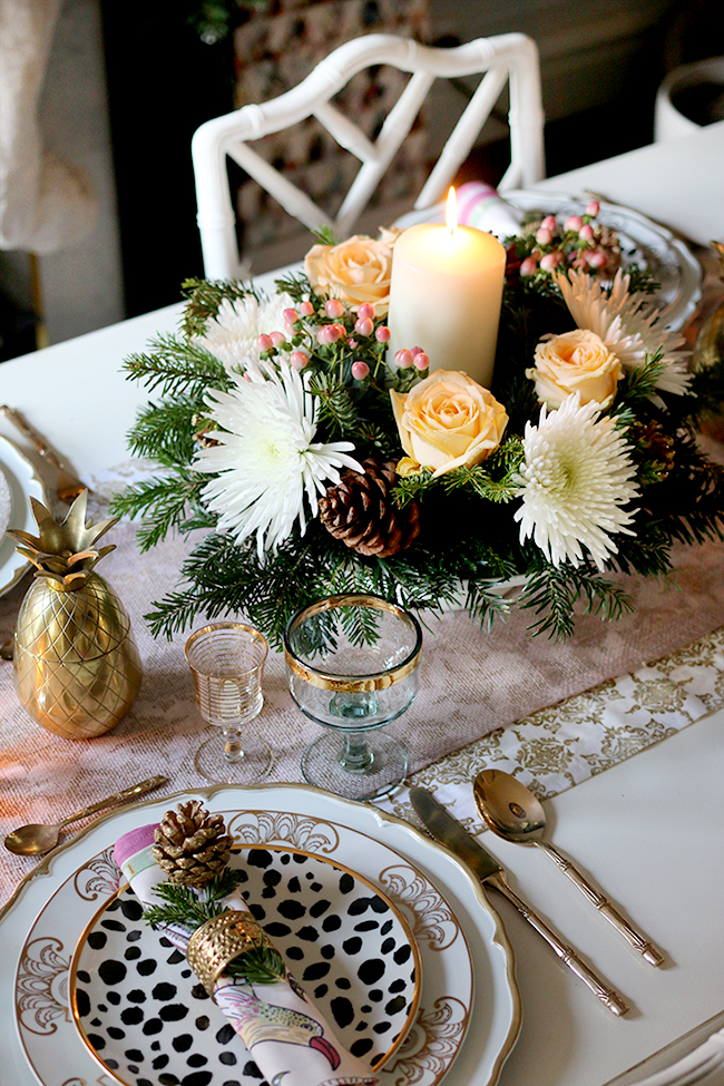 How to create a glam Christmas table setting on a budget with DIY Floral centrepiece