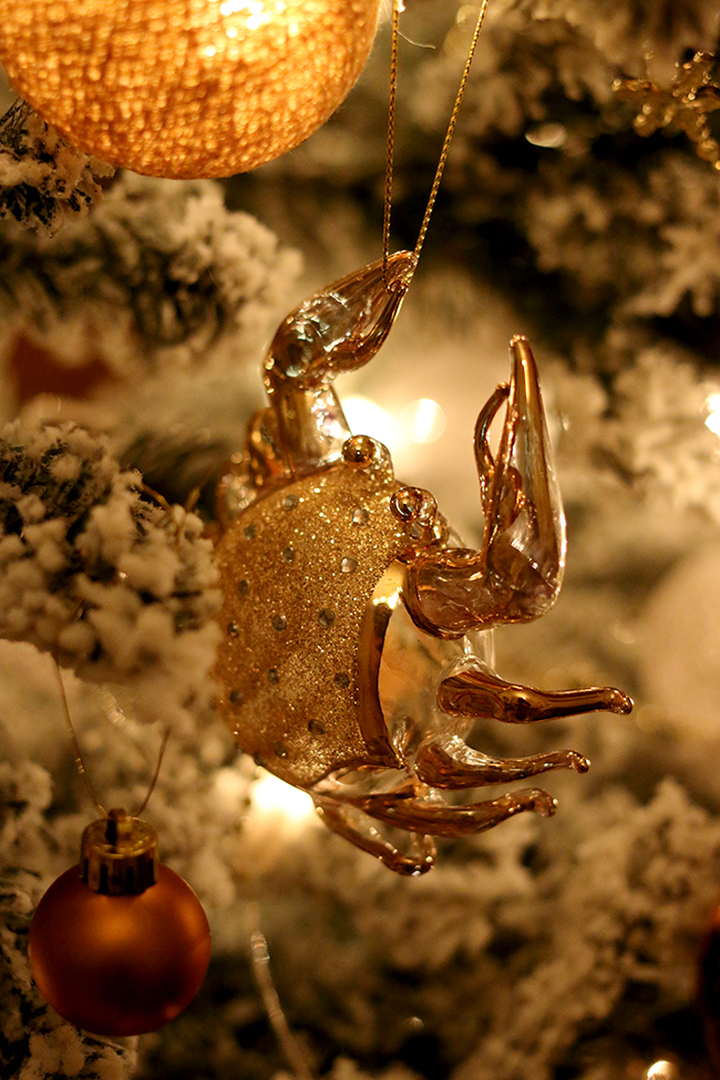 gold and brass lobster christmas ornament from West Elm