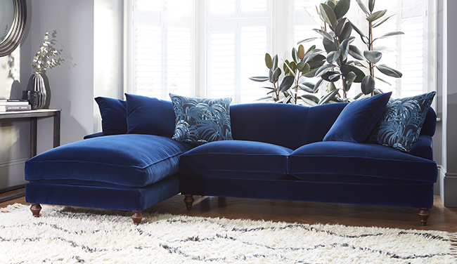 navy blue velvet sofa by Darlings of Chelsea