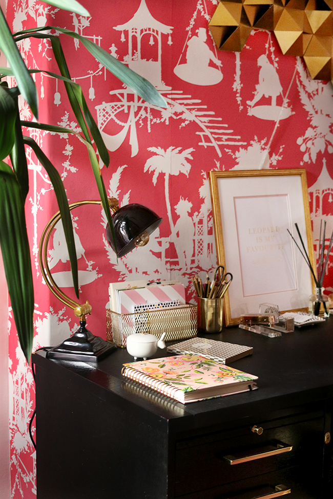 Boho glam office space with pink chinoiserie wallpaper