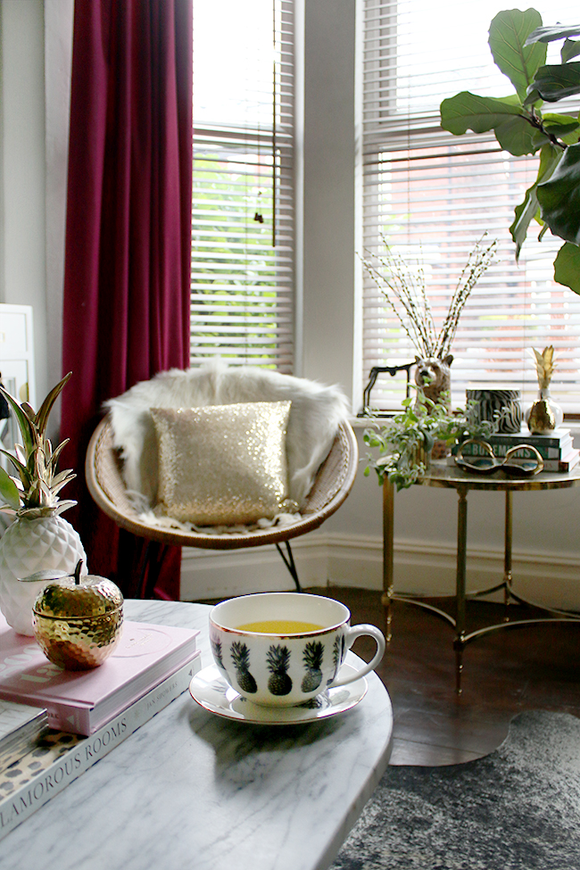 vintage hoop chair eclectic styling living room