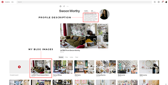 Swoon Worthy profile page on Pinterest