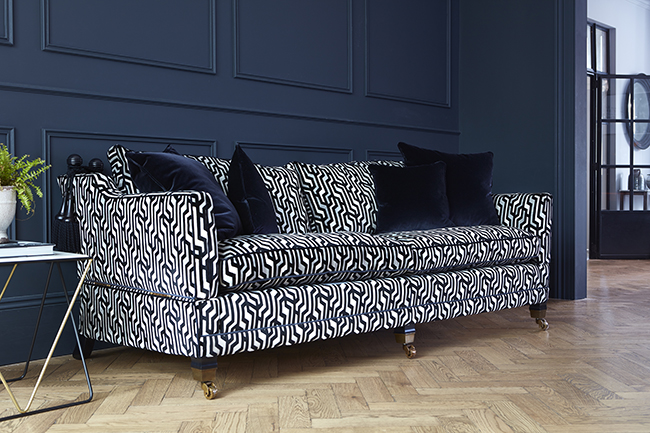 navy blue and white patterned velvet sofa from Darlings of Chelsea