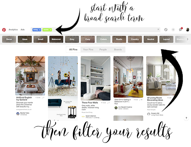 use the search tags on Pinterest