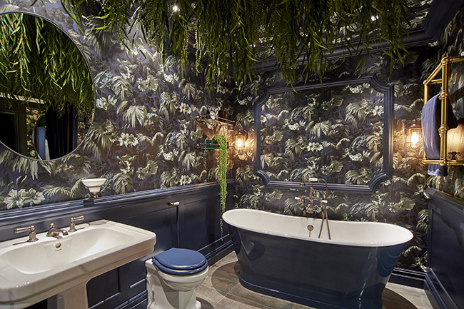 C.P. Hart and House of Hackney bathroom in blue and green urban jungle