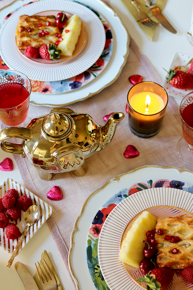 Romantic Valentines Day Table Setting for Two