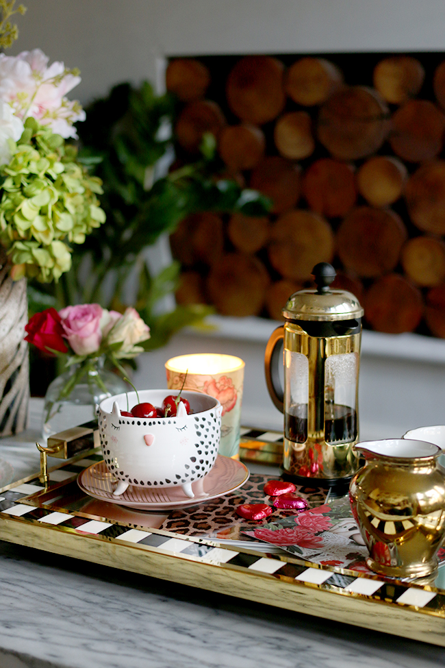 stylish coffee table setting for valentine's day