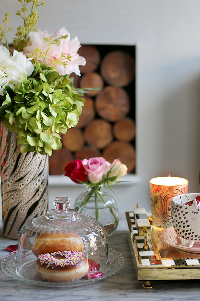 style a coffee table for Valentine's Day