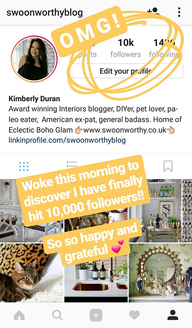 10k followers on Instagram swoonworthyblog