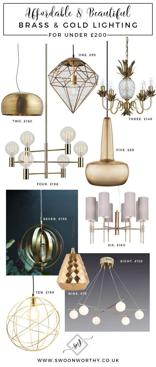Affordable lighting gold brass ceiling lights for under £200