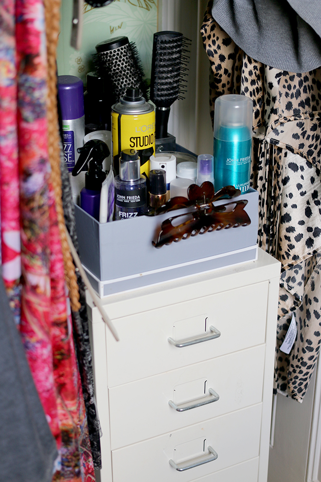 makeup and hair product storage