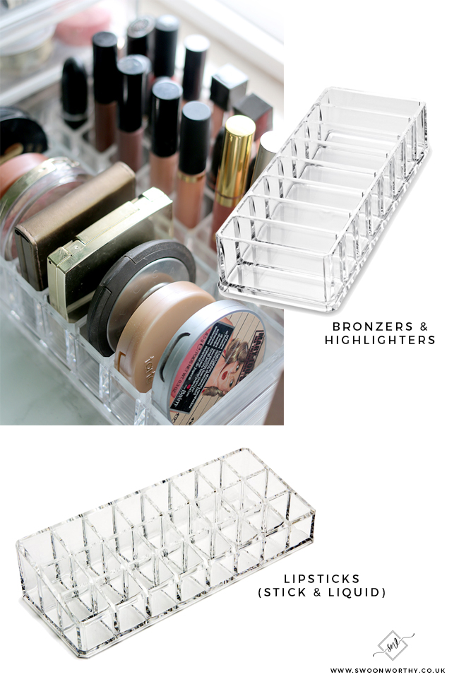 Find out how to organise your lipstick and compact storage to make your make collection sleeker!