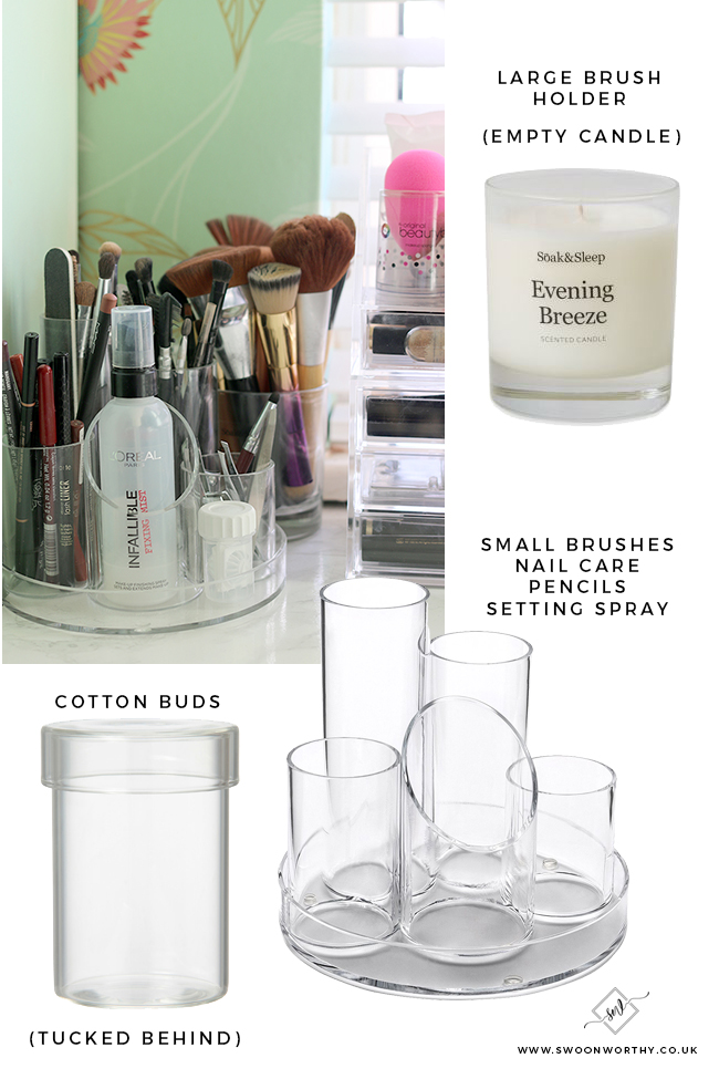 Find out how I store my makeup collection using pencil storage and empty candle pots!