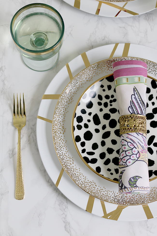 Add a touch of luxury to your dinner table with my gold, glam DIY Charger Plates