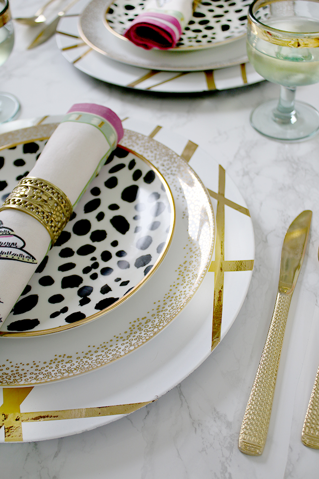 If you're hosting a dinner party my gold DIY Charger Plates are perfect for adding a touch of glam!