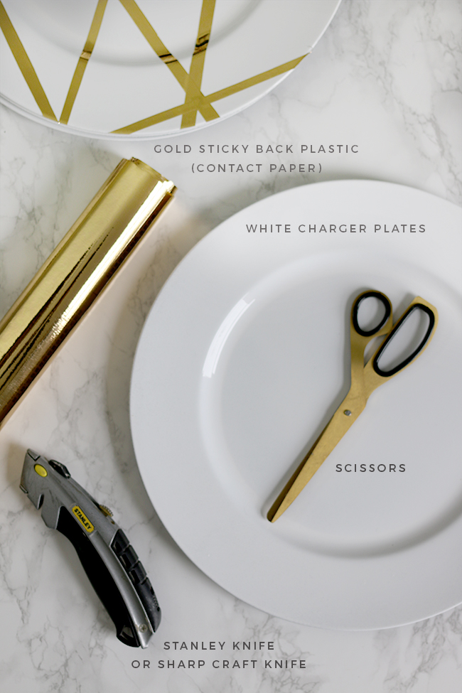 Gold glam DIY charger plates - Materials