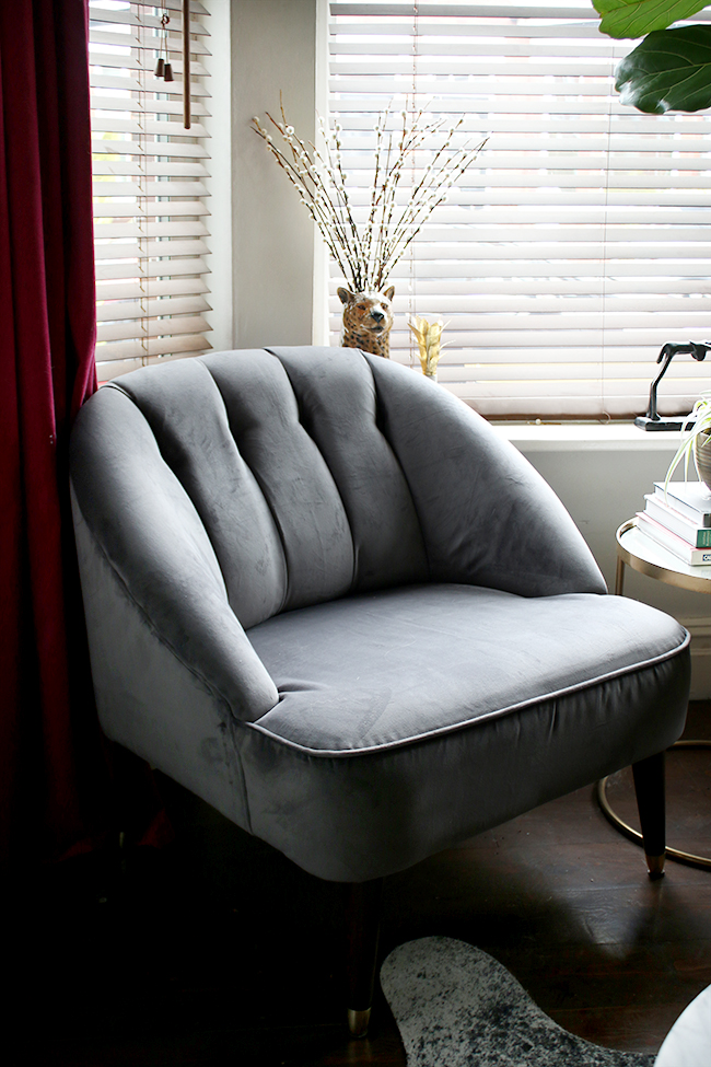 grey velvet chair