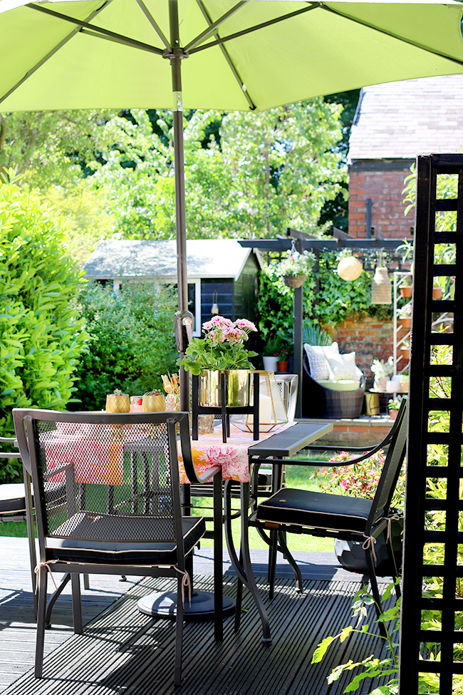 small garden design in Edwardian semi with two separate seating areas