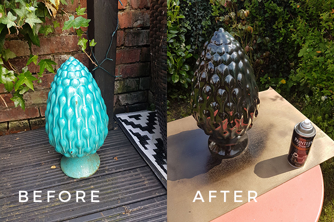 ceramic artichoke before and after