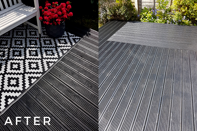 decking after painting black with Cuprinol Ash Black paint