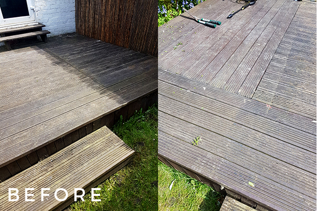 decking before cleaning and painting