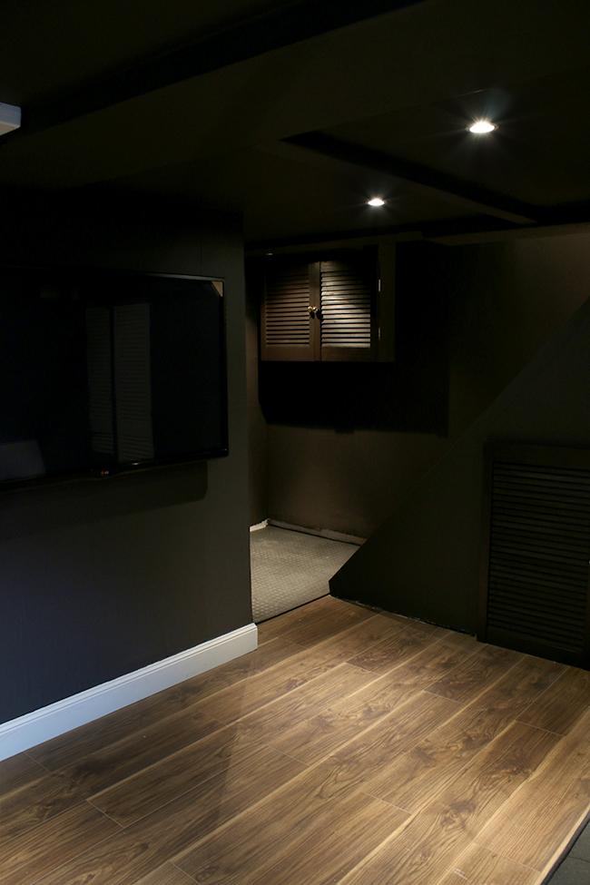 dark cellar remodel in Farrow and Ball's Tanner Brown